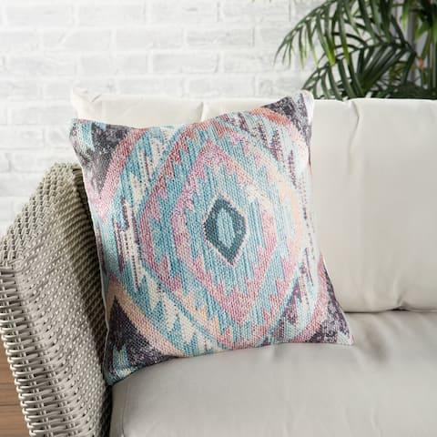 Nikki Chu Sinai Indoor/ Outdoor Tribal Blue/ Multicolor Throw Pillow 18 inch
