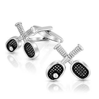 Bling Jewelry Mens Stainless Steel Plated Vintage Style Tennis Racket and Ball Cufflink Set