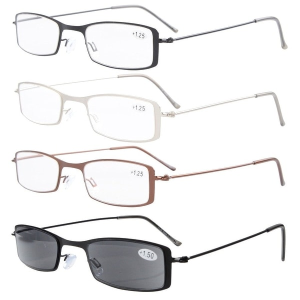 325032ef0ae Eyekepper 4-Pack Stainless Steel Frame Half-eye Style Reading Glasses  Includes Sun Readers