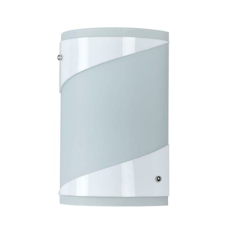 18 Watt Wall Lamp with Curved Frosted Glass Shade, White