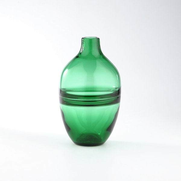 "10"" Translucent Green Hand Blown Glass Bud Vase - N/A"