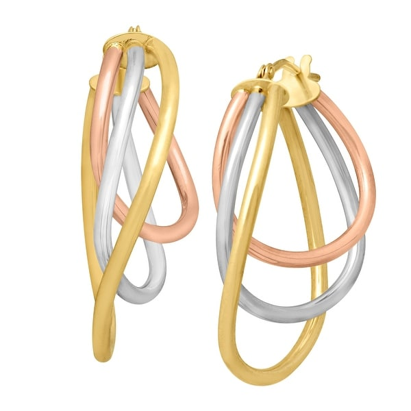 Just Gold Triple Round Hoop Earrings in 14K Three-Tone Gold - Tri-color