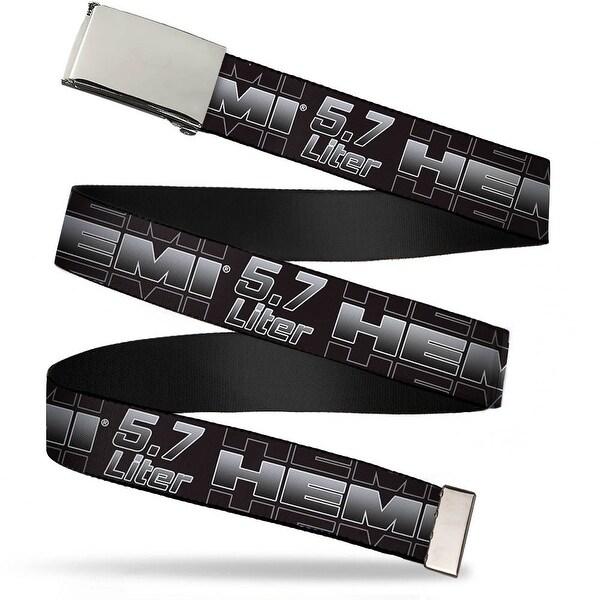 Blank Chrome Bo Buckle Hemi 5.7 Liter Black White Silver Fade Webbing Web Belt