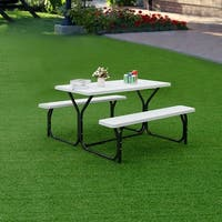 Costway Picnic Table Bench Set Outdoor Backyard Patio Garden Party Dining All Weather - White