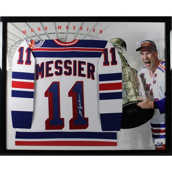 Mark Messier New York Rangers Replica 1994 Stanley Cup Patch Jersey Framed  with Canvas Image Backgr d1781236d