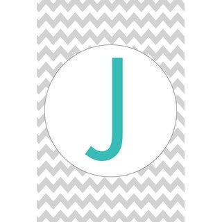 Monogram - Chevron - Gray & Teal - J (Cotton/Polyester Chef's Apron)