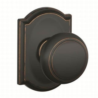 Schlage F10-AND-CAM  Andover Passage Door Knob Set with Decorative Camelot Trim - Aged Bronze