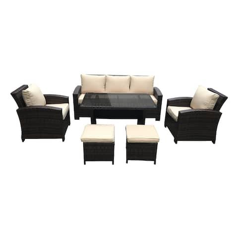 Atrani Dark Brown and Beige 6-piece Outdoor Conversation and Dining Set