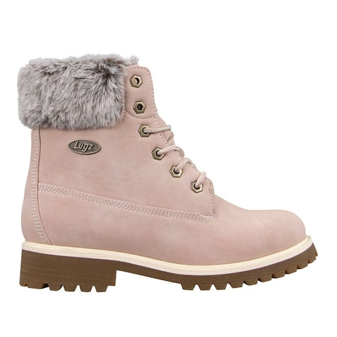 """Lugz Convoy Faux Fur Lace Up Womens Boots Ankle Mid Heel 2-3"""" -"""