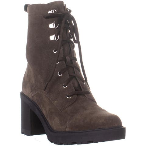 Marc Fisher Lanie Lace Up Mid Calf Boots , Dark Gray - 9 US