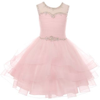 Gorgeous Rhinestones Pageant Party Flower Girl Dress Pink CC 5050