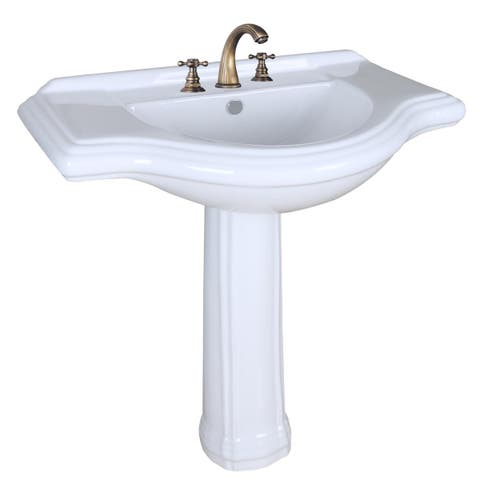 Renovator's Supply 34 Inches White Porcelain Large Bathroom Pedestal Sink