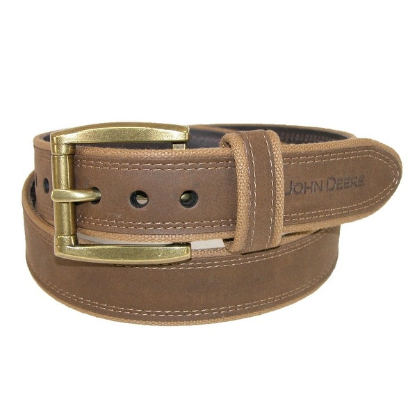 John Deere Men's Canvas with Crazy Horse Leather Belt