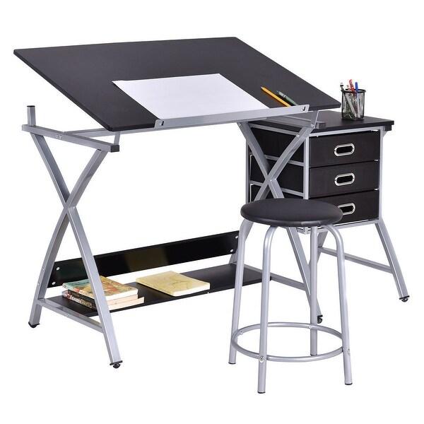 Costway Drafting Table Art & Craft Drawing Desk Art Hobby Folding Adjustable w/ Stool - Black