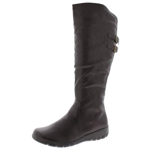 Easy Street Womens Tess Riding Boots Faux Leather Buckle