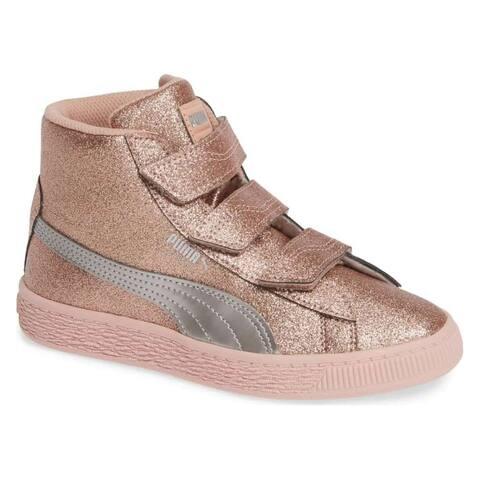 Kids Puma Girls Basket Mid Strap Glitz V PS Hight Top Fashion Sneaker