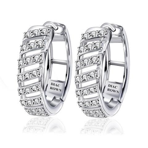 Sterling Silver Diamond Round Hoop Earrings by Diacrown