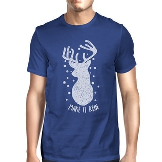 Make It Rein Vintage Reindeer T-Shirt For Men Short Sleeve Cotton