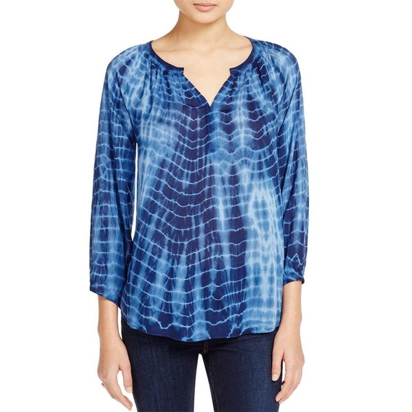 Beach Lunch Lounge Womens Blouse Hi-Low Tie-Dye