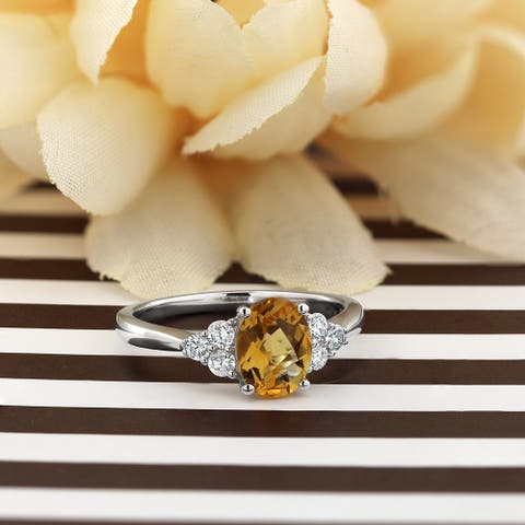 Auriya 1 1/10ct Oval Citrine and Diamond Engagement Ring 1/4ctw 14k Gold