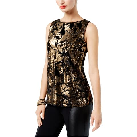 I-N-C Womens Velvet Contrast Knit Blouse