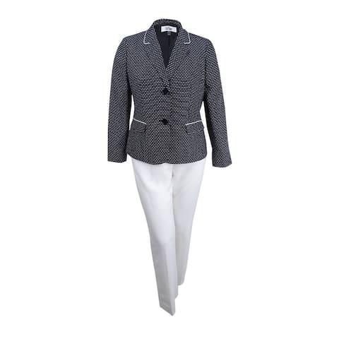 Le Suit Women's Textured-Dot Two-Button Pantsuit - Black/Ivory