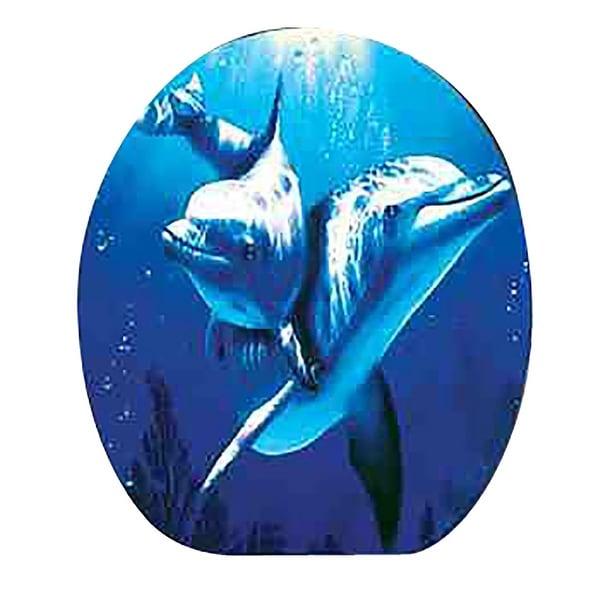 Toilet Seat Dolphin Ocean Elongated Chrome Hinge