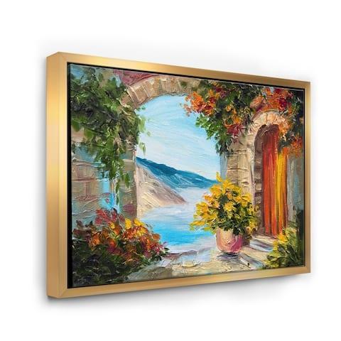 Designart 'House Near The Sea Colorful Flowers Summer Seas' Nautical & Coastal Framed Canvas Wall Art Print