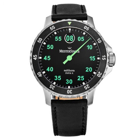MeisterSinger Men's SAMX902GR 'Salthora Meta X' Black/Green Dial Ceramic Bezel Swiss Automatic Watch