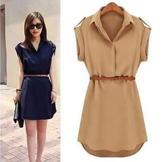 Fashion Women's Cap Sleeve Stretch Chiffon Casual Shirt Mini Dress With Belt