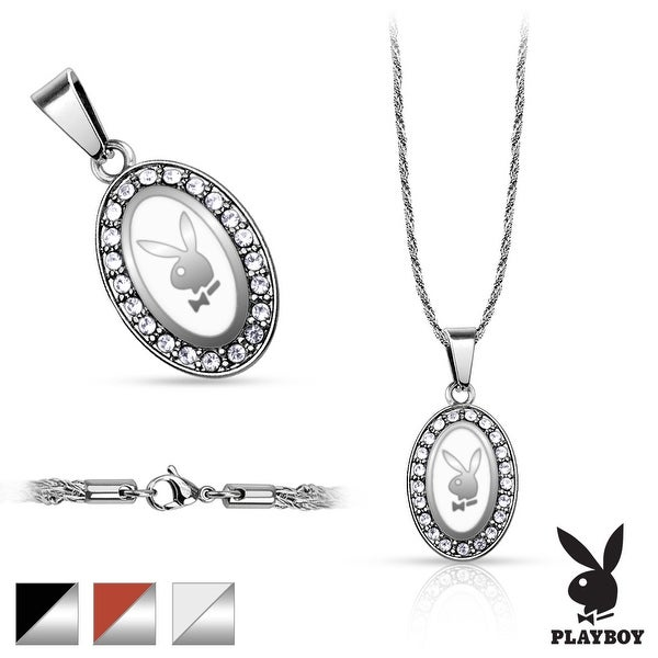 316L Stainless Steel Rope Chain with Oval Playboy Logo Paved Gem Pendant (14 mm Width)