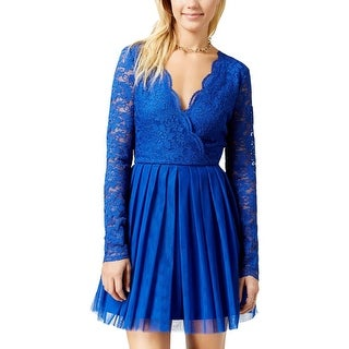 Teeze Me Womens Juniors Party Dress Lace Bodice Mini