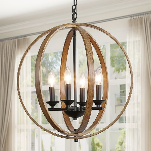 The Gray Barn Whitethorn 3/4-light Faux Wood Globe Chandelier Lighting. Opens flyout.