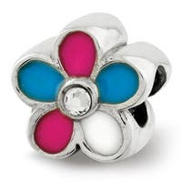 Sterling Silver Reflections Kids Enameled Flower Bead (4mm Diameter Hole)