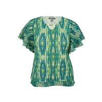 JM Collection Women's Chiffon-Trim Open-Knit Keyhole Top - ikat stripe