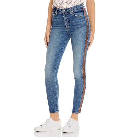 7 For All Mankind Womens Skinny Jeans High Rise Metallic Stripe - Luxe Vintage Muse/Blue-Gold
