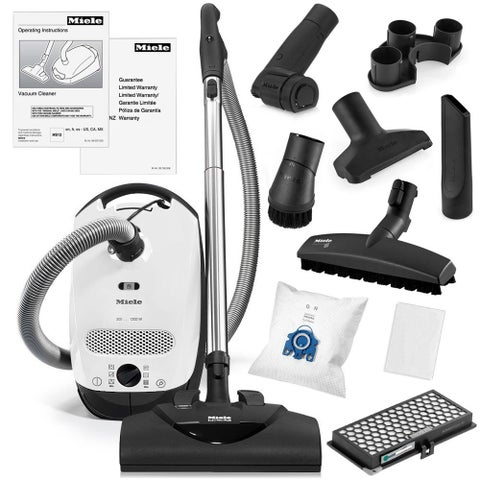 Miele Classic C1 Cat and Dog Canister Vacuum Cleaner + SEB 228 Electro Plus Powerhead + SBB-3 Parquet Floor Brush + More