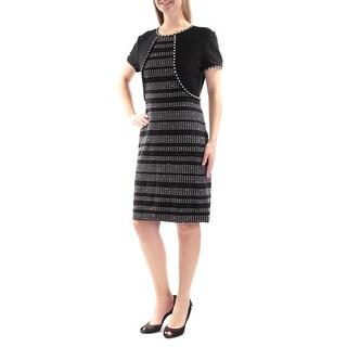 ST JOHN $995 Womens New 3895 Black Striped Short Sleeve Sheath Dress 8 B+B