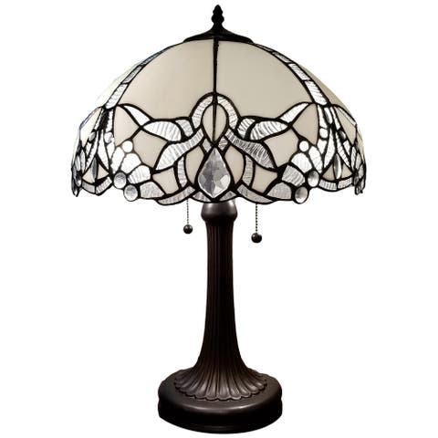"""Tiffany Style Table Lamp Jeweled Jagged Edge 23"""" Tall Stained Glass White Office Handmade AM241TL16B Amora Lighting"""