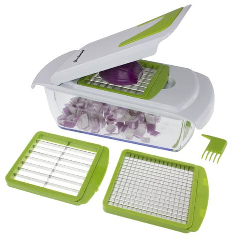 Freshware Onion Chopper, Vegetable Slicer, Food Chopper for Vegetable, Fruit, Nuts, Herbs and Salsa, 4-In-1