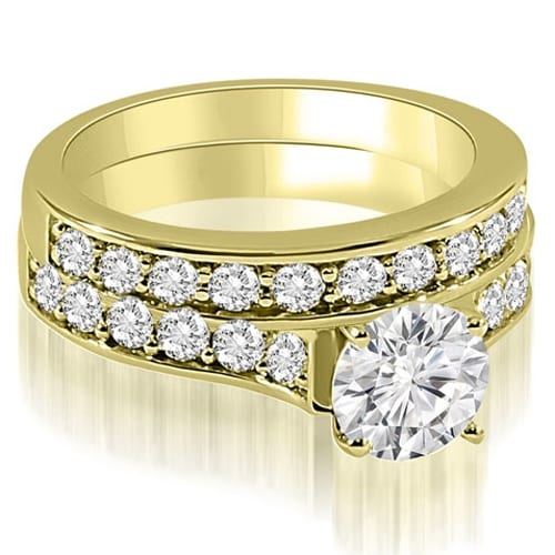 2.25 cttw. 14K Yellow Gold Cathedral Round Cut Diamond Bridal Set