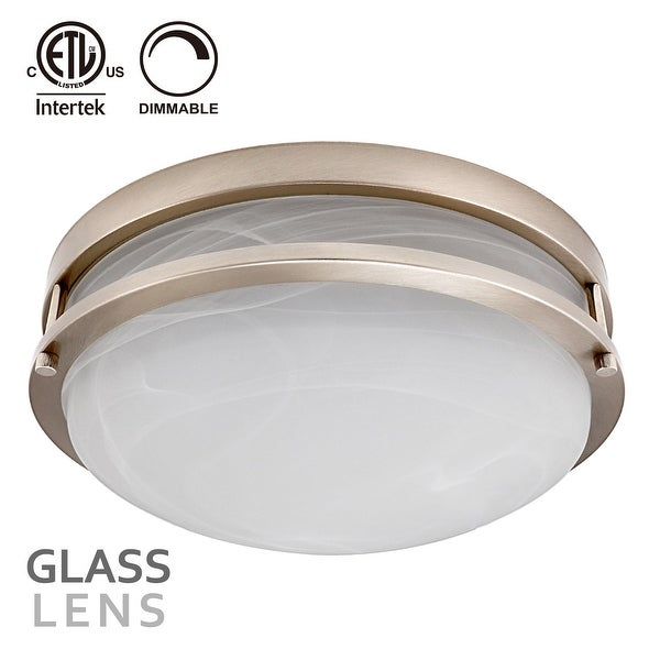 12Inch Dimmable LED Flush Mount Ceiling Light,Alabaster Glass Cover,Warm White,Oil Rubbed Bronze Finish/Satin Nickel Finish