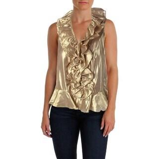 Lauren Ralph Lauren Womens Silk Metallic Blouse - 10