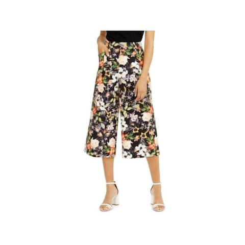 INC Womens Black Pocketed Floral Wide Leg Pants Size 8