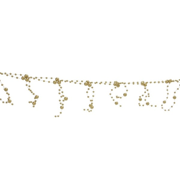 6' Glamour Time Matte Champagne Gold Beaded Christmas Garland - Unlit