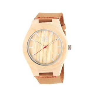 Earth Wood Aztec Unisex Quartz Watch, Genuine Leather Band