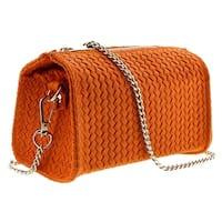 HS1152 AR PIA Orange Leather Wristlet/Crossbody Bag - 7-4-4