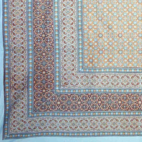 Handmade Cotton Moroccan Foulard Tapestry Tablecloth Coverlet Bedspread Blue Twin 70x106 Inches & Full 88x106 Inches