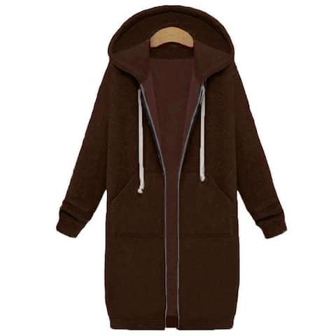 Women's Hoodie Mid-Length Plus Velvet Pocket Hooded Zipper Trench Coat