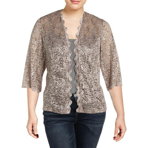 R&M Richards Womens Plus Cardigan Top Lace Sequined